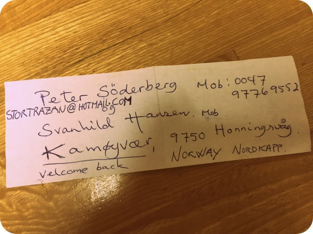 溫暖我心的一張紙條, 用挪威語寫著Welcome back